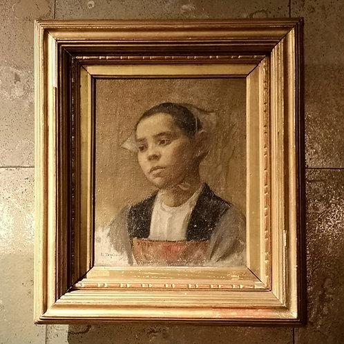 Edmond Tapissier, Portrait d'une jeune bretonne, Académie Julian, Fernand Cormon