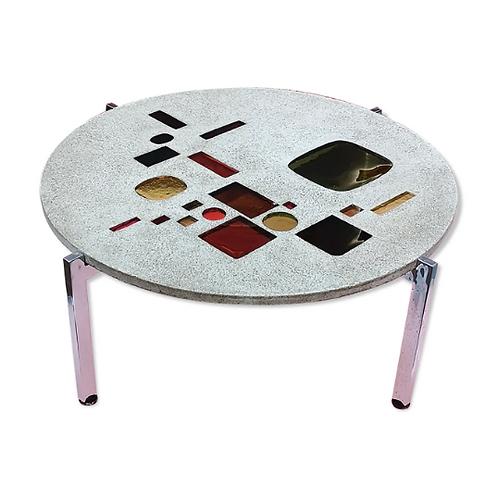 Jacques Avoinet, Table basse en béton et verre multicolore