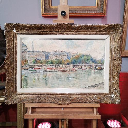Pierre Thevenet, Vue des quais de Paris, huile sur toile