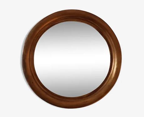 Miroir rond en bois doré sorcière convexe
