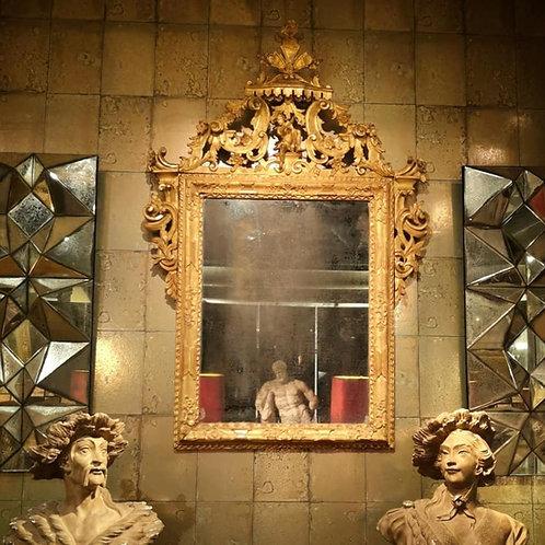miroir venitien en bois doré 18e siecle