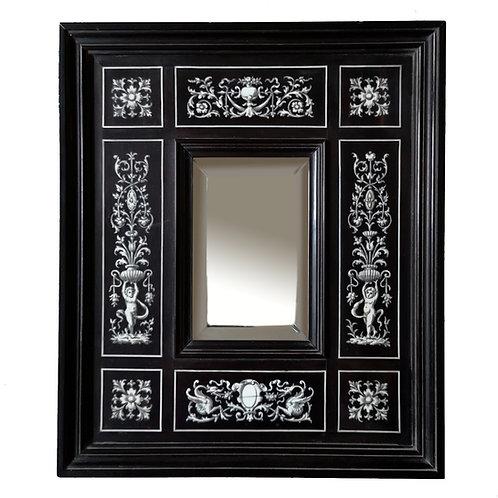 Miroir Napoléon III néo-Renaissance en bois noirci et marqueterie d'ivoire