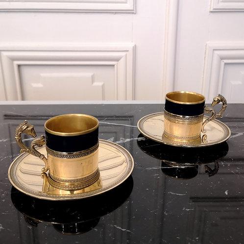 Tasses à café à décor de lévriers, MAISON VILLARD BROLIQUIER ET RODET