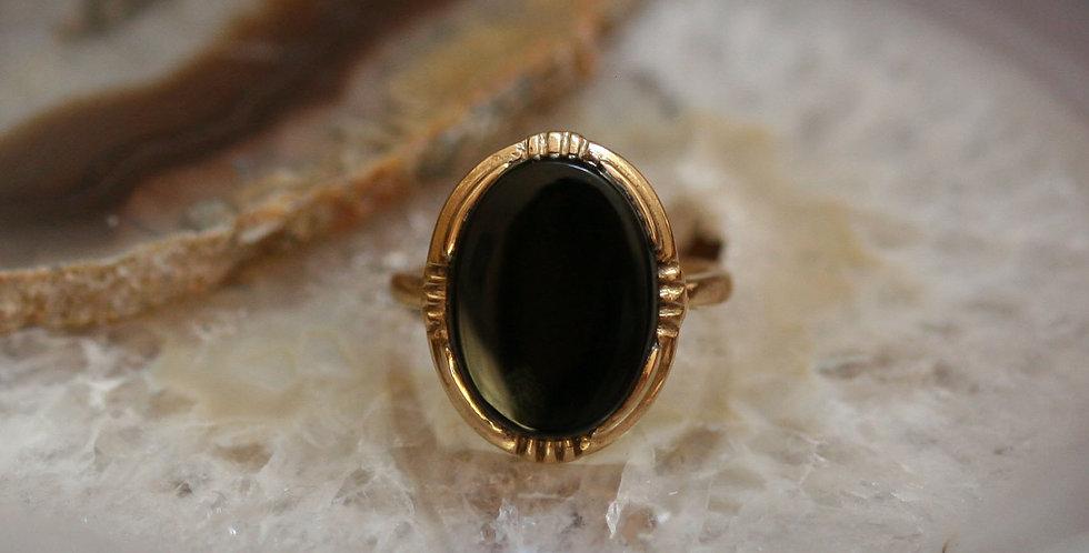 Fabulous Art Deco Onyx Ring in 10k Yellow Gold