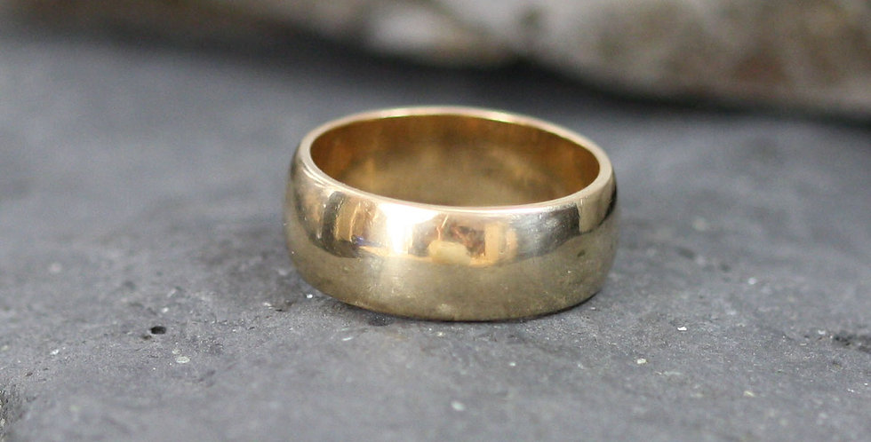 Mid Century Classic Wedding Band 14k Yellow Gold Band 7.5 mm Wide