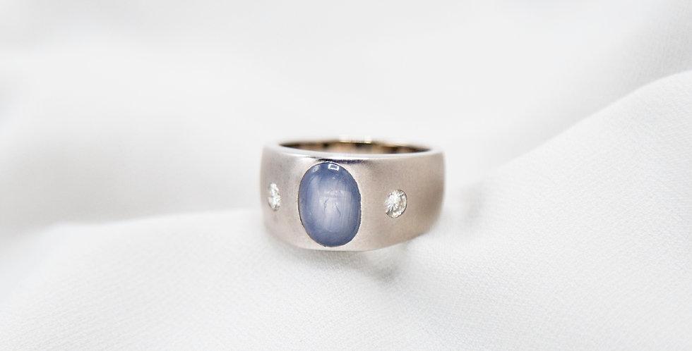 Men's Sapphire Ring Natural Cabochon Sapphire & Diamonds