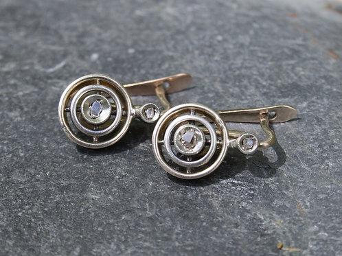 Edwardian Diamond Drop Earrings with Rose Cut Diamonds in 10k Gold