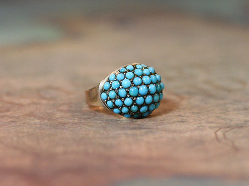 Victorian Turquoise Domed Ring 18k Yellow Gold