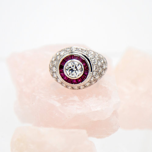 Engagement Ring Bulls Eye Target Ring Diamond and Ruby Cocktail Ring Platinum
