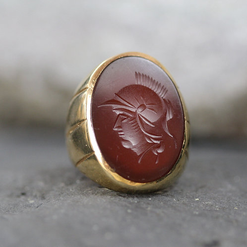 Mid Century Agate Intaglio Ring in 14k Yellow Gold Heavy Gold Large Intaglio
