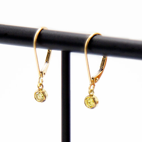 Fancy Intense Yellow Diamond Drop Earrings Bezel Set in 18k Yellow Gold