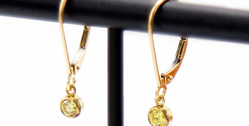 Fancy Intense Yellow Diamond Drop Earrings Bezel Set in 18k Yellow Gold