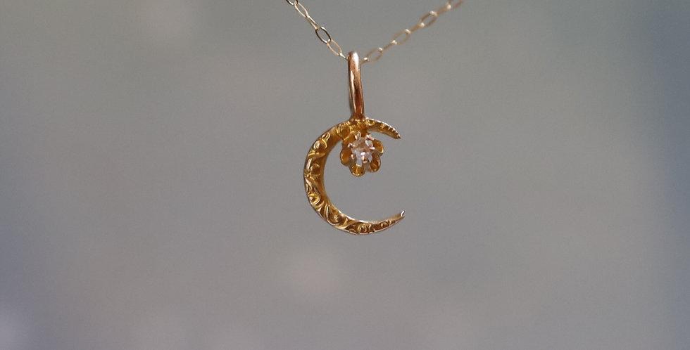 Antique Art Nouveau Repousse Crescent Moon Pendant with Diamond