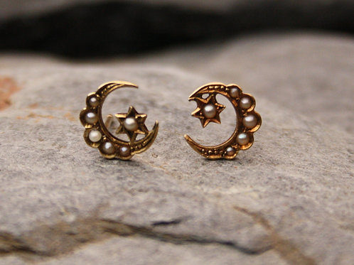 Pair of Victorian Crescent Moon & Star Pearl Stud Earrings in 14K Yellow Gold