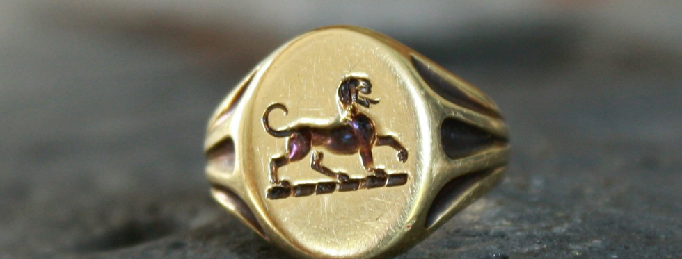Victorian Griffin Signet Ring in 14k Yellow Gold