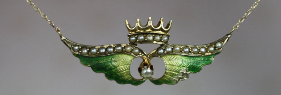 Art Nouveau Antique Enamel Wings & Crown Necklace with Pearls and Enamel in 10k