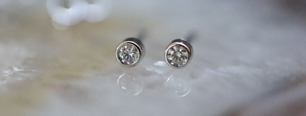 Diamond  Studs Micro Bezel Earrings