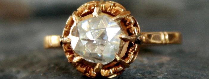 Antique Dutch Rose Cut Diamond Solitaire Engagement Ring 0.75 cts 18k Gold