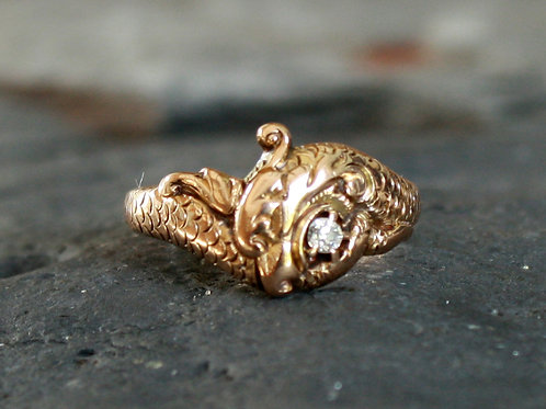 Victorian Snake Ring with Diamond in 14k Yellow Gold Size 7