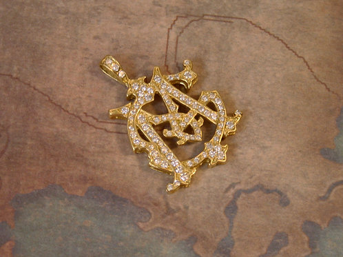 18k Gold Large Diamond Monogram Pendant MG or GM Diamond Initials