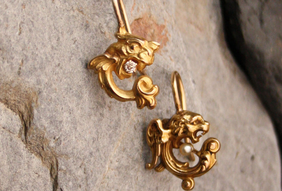 Art Nouveau Griffin Diamond and Pearl Earrings