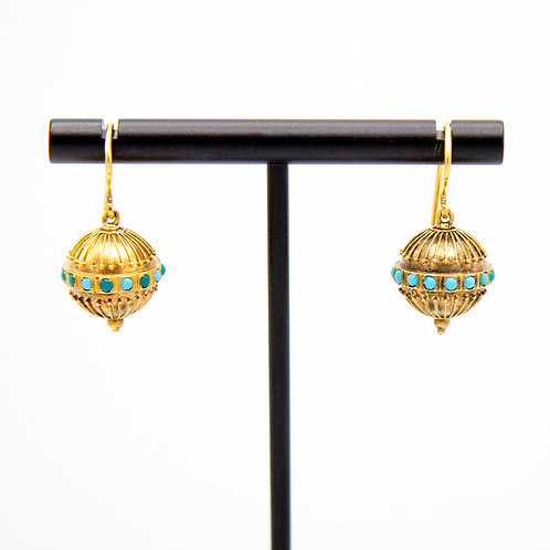 Victorian Etruscan Revival 14k Yellow Gold Granulated Bead Drop Earrings