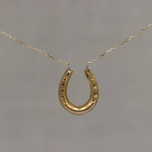 Victorian Horseshoe Necklace in 15k / 14k Yellow Gold Chain