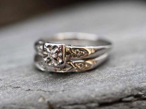Sweet and Petite Diamond Wedding Engagement Ring and Wedding Band Set in 14k WG
