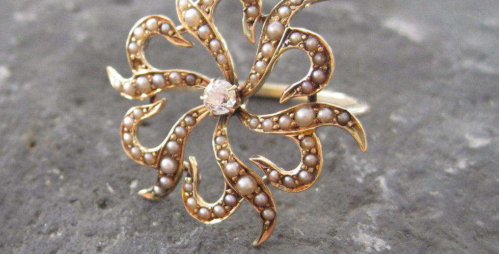 Antique Victorian Sunburst Diamond Ring in 10k Yellow Gold