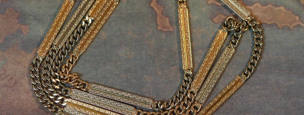 """Mens Art Deco 14k Multi Color Heavy Gold Chain 23.25"""""""