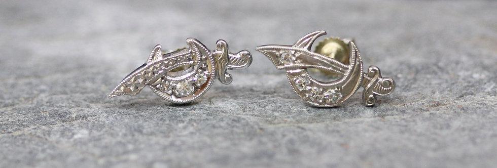 Pair of Art Deco Crescent Moon & Sword Diamond Stud Earrings in White Gold