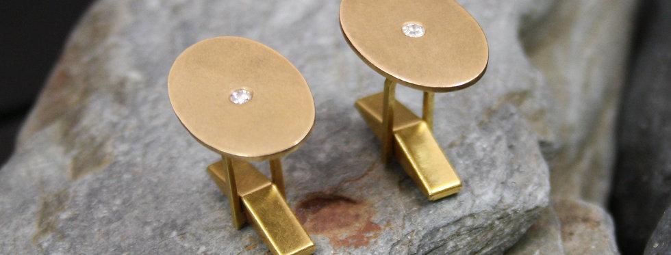 Antique Diamond Cufflinks 14k Yellow Gold Old European Cut Diamond Cuff Links