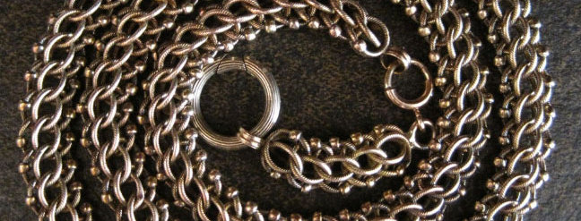 14k Gold Victorian Mesh Chain Victorian Necklace 9 mm Wide - DK219