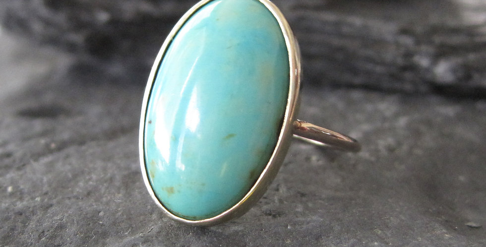Victorian Turquoise Ring Converted from a Stickpin 12k Gold