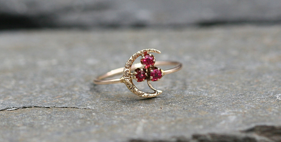 Art Nouveau Ruby Crescent Moon Conversion Ring in 10k Pink Gold