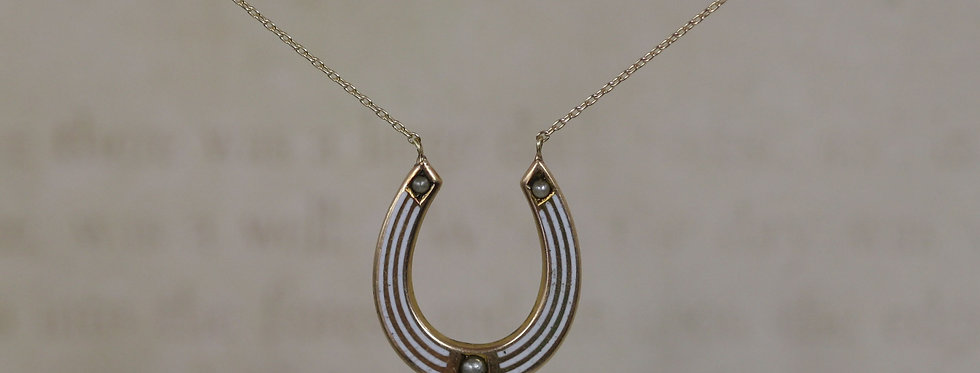 Egyptian Revival Victorian Pearl Horseshoe Necklace in 10k Yellow Gold