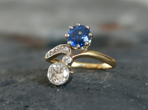 Edwardian Moi et Toi Sapphire and Diamond Ring in 18k Yellow Gold and Platinum
