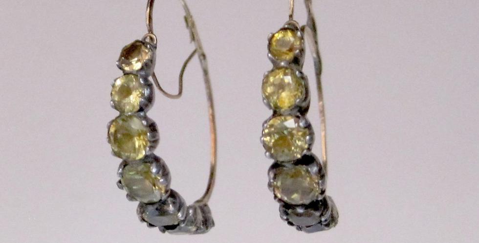 Georgian Half Hoops Citrine Earrings in Silver and 14k Gold