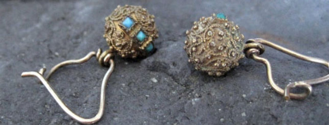 Victorian Etruscan Revival 9k Gold Granulated Bead Drop Earrings with Turquoise
