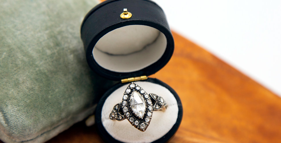 Stunning Marquise Rose Cut Diamond Ring in Sterling Silver & 14k Pink Gold Ring