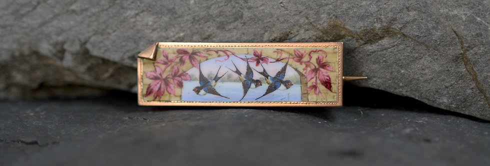 Victorian Swiss Enamel Brooch with Swooping Barn Swallows
