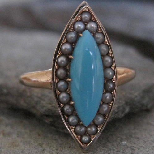 Victorian Turquoise and Pearl Navette Ring in 14k Yellow Gold