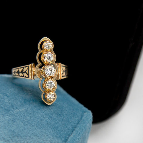 Navette Ring Diamond Ring 0.48 cts in 14k Yellow Gold Ring