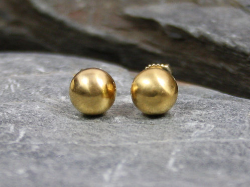 Antique Victorian Studs in 14k Yellow Gold 8.8 mm Bead Studs Gold Ball Studs
