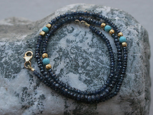 """Sapphire Bead Necklace Turquoise Bead Necklace and 22k Gold Bead Necklace 16.75"""""""