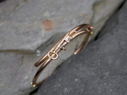 Victorian Bangle Bracelet 9k Rose Gold Key Charm Bangle Bracelet