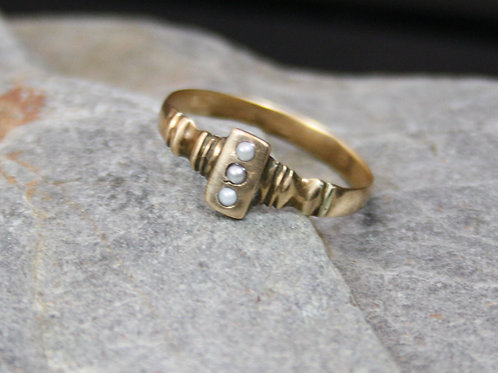 Victorian Pearl Ring in 14k Pink Gold