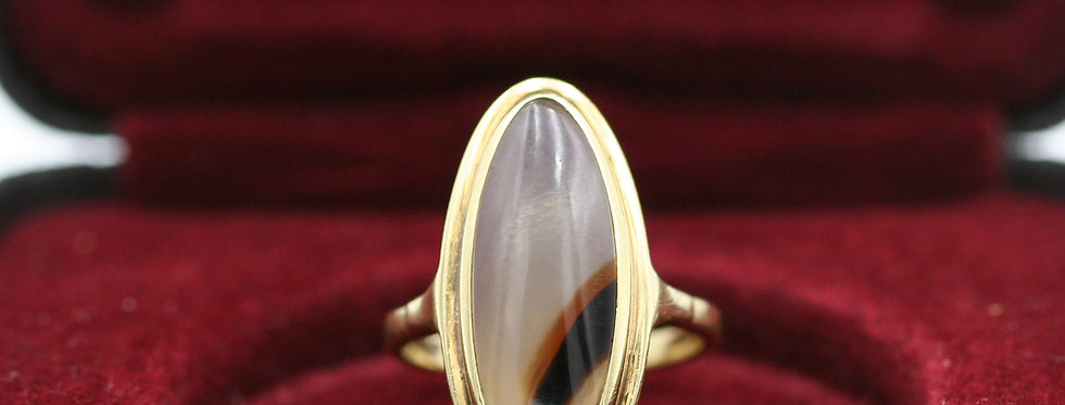 Art Nouveau Dendritic Picture Agate Moss Agate 14k Yellow Gold Ring