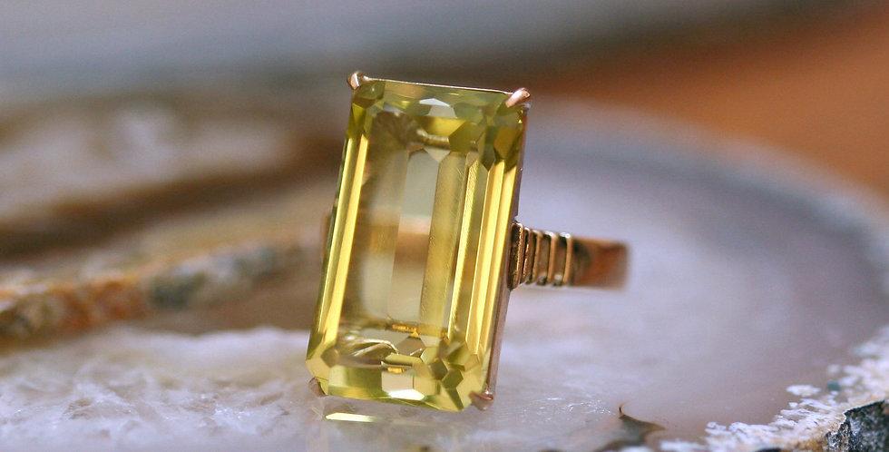 Large Emerald Cut Lemon Quartz Citrine Ring in 14k Yellow Gold Mounting