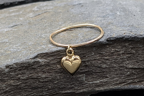 14k Puffy Heart Charm Ring / Heart Ring / Heart Band